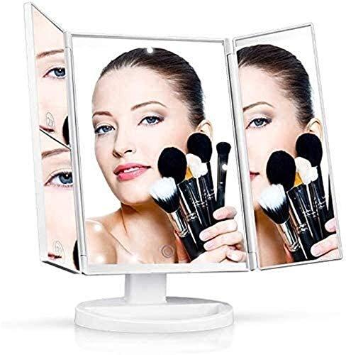 HCMNME Espejos portátiles Tri Pliegue el tocador de Maquillaje con Las Luces Interruptor de la Pantalla táctil, Tablero de rotación de 180 °