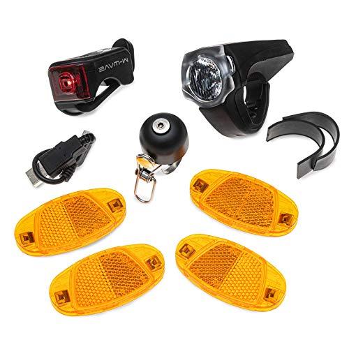 OLLO StVZO Set (Deluxe) Fahrrad StVZO Nachrüst-Set - Fahrradbeleuchtung LED Set (USB), Speichenreflektoren, Fahrradklingel