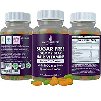 Sugar Free Hair Gummy Bear Vitamins by Hair Thickness Maximizer with Biotin 5000 mcg Vegan Gluten Free Chewy Natural Hair Vitamin Gummies for Men and Women Great for Hair Growth Skin and Nails