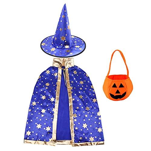 PHIEZC Disfraz de mago de bruja, con bolsa de caramelos de calabaza, disfraz de Halloween, abrigo de mago con accesorios, adecuado para fiestas de disfraces de Halloween