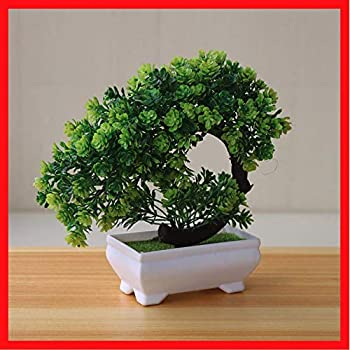 Amazon Com Dezirzjjx Artificial Plants Welcome Pine Bonsai Simulation Artificial Potted Plants To Decorate Gardens With Flower Pots Offices Terraces Weddings And Indoor Decorations Rose Red Kitchen Dining