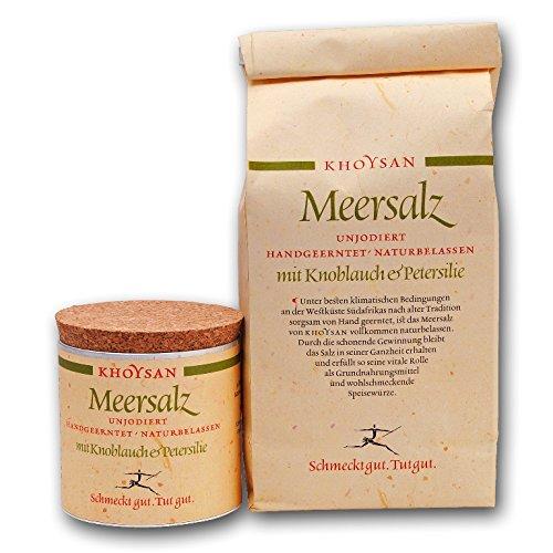 Sanquell GmbH Khoysan Meersalz mit Knoblauch & Petersilie | handgeschöpf | natürlich getrocknet | besonders lecker | 1kg Nachfüllbeutel & 200g Deko-Box (gefüllt)