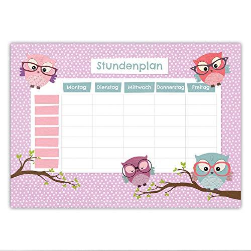 Papierdrachen Stundenplan DIN A4 Block - Motiv Eule - beschreibbar Schule - Terminkalender und Wochenplan