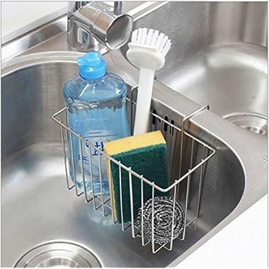 SZUAH Kitchen Sink Sponge Holder, 304 (18/8) Stainless Steel Sink Caddy Organizer, Liquid Drainer Rack for Sponge, Soap, Brush, Dishwashing Accessories