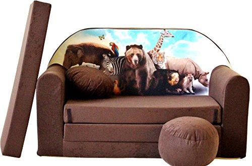 Pro Cosmo K8 - Sofá Cama de Tela con puf y Almohada para niños (168cm x 98cm x 60cm), Color Azul