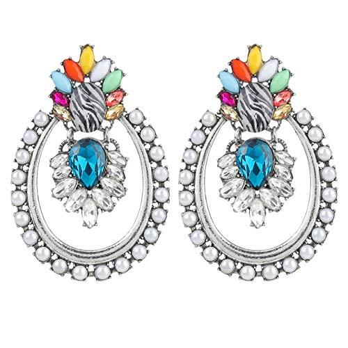 Vvff Pendientes De Perlas De Imitación De Acrílico Ovalado Hueco De Metal Pendientes Colgantes De Mujer Accesorios De Joyería Para Banquetes