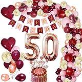 MMTX 50 Decorazioni per Feste di Buon Compleanno Decorazioni Bordeaux con 50 Foil Palloncini Coriandoli Oro Rosa Vino Rosso Topper per Torta Banner per l'anniversario di Compleanno Donna Ragazza