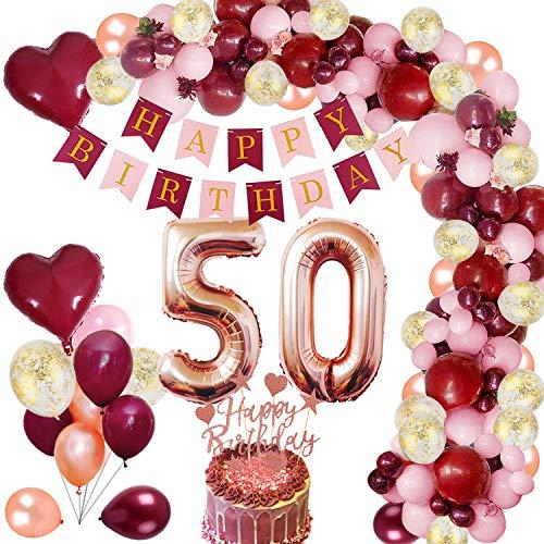 MMTX 50 Geburtstag Dekoration Burgunder Geburtstagdeko mit Folienballon Wein Rot Rose Gold Konfetti Luftballons Banner Cake Topper für Mädchen Frau Geburtstag Jubiläum Gastgeschenke