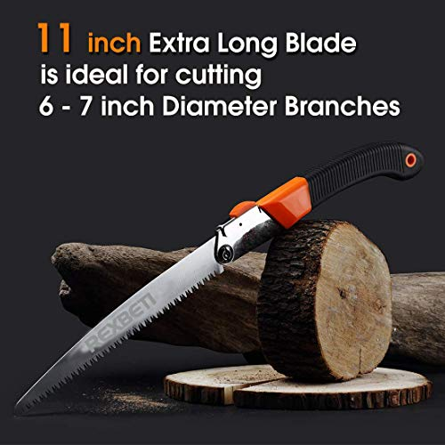 Folding Saw, Heavy Duty 11 Inch Extra Long Blade Hand Saw for Wood Camping, Dry Wood Pruning Saw With Hard Teeth By REXBETI, Quality SK-5 Steel