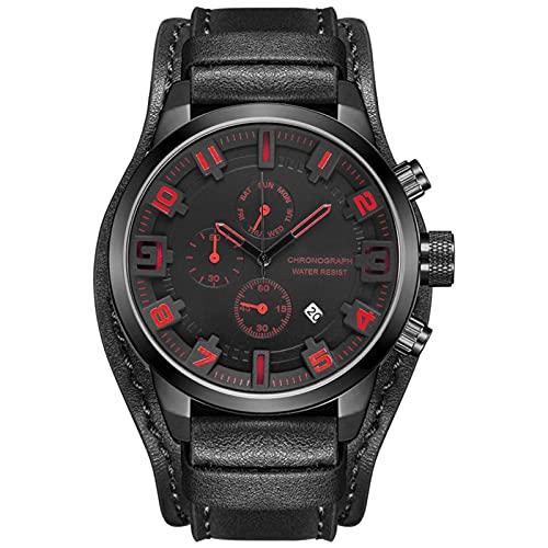 WNGJ Hombre Relojes Multifuncional Cuarzo Relojes, Reloj Multifuncional De Seis Manos con Esfera Grande Reloj De Cuarzo para Hombre, Familiares Y Black