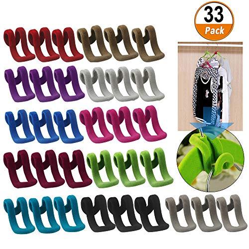 Kleiderbügel Mini Beflockungshaken Rutschfester Kleiderständer Cascading Kleiderbügelhaken 33 Stück Spart Platz im Kleiderschrank Leicht zu organisieren mit einem ganzen Satz von Kleidung Haken