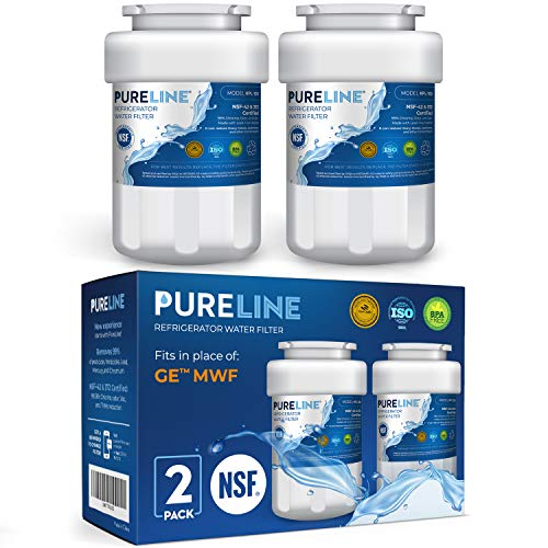 Pureline MWF Water Filter Replacement. Compatible with GE MWF, MWFP, MWFAP, MWFA, MWFINT, GWF, GWFA, HWF, HWFA, HDX FMG-1, Smartwater, WFC1201, GSE25GSHECSS, 197D6321P006 (2 Pack)