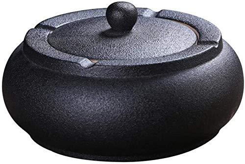 Cenicero de cerámica con tapa negro Cenicero aprueba de vientopara fumadoresCenicero de escritorio para decoración de oficina en casa negro