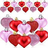HOWAF 24 Pezzi San Valentino Cuore Palline Ornamenti Albero di Natale Palline a Forma di Cuore Decorazione da Appendere per Anniversario di Matrimonio San Valentino, Rosa, Rossa