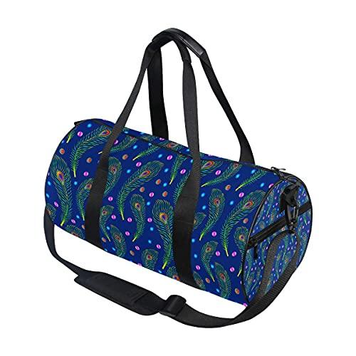 Borsone da palestra, piume di pavone e gioielli, borsa da viaggio con scomparto per scarpe e tasca bagnata, per donne o uomini
