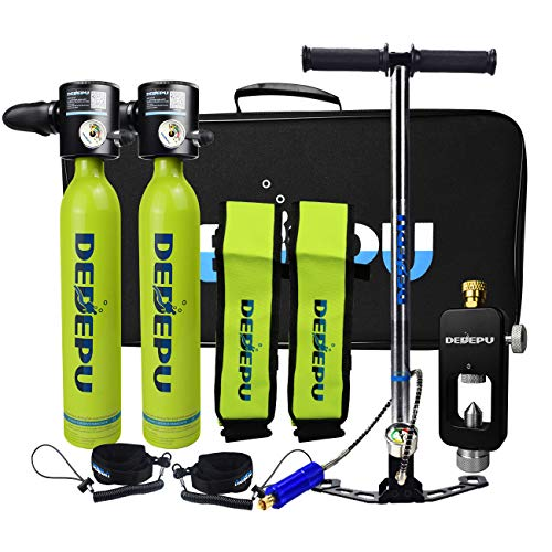 DEDEPU Mini equipo de buceo portátil S3000-Package C 2 × 0.5L Buceo Cilindro de Buceo para Submarinismo Subacuático Entrenamiento respiración, Tanque de Snorkeling Dispositivo de Bomba Manual (Verde)