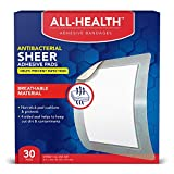 All Health Antibacterial Sheer Adhesive Pad Bandages, 3 in x 4 in, 30 ct | Helps Prevent Infection, Extra Large Comfortable Protection for First Aid and Wound Care