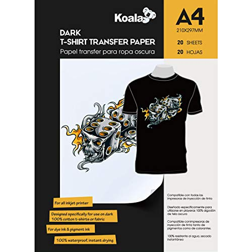 KOALA 20 fogli, A4, Carta da stiro per termoadesiva trasferimento di maglietta e tessuti di colore scuro, adatta per stampanti a getto d'inchiostro