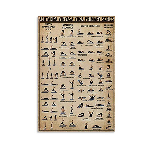 Póster retro de yoga Ashtanga Vinyasa Yoga Primary Series Canvas Art Poster and Wall Art Picture Print Moderno Familiar Dormitorio Decoración Posters 30 x 45 cm