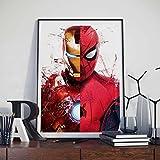 Sixinguang Carteles Marvel Avengers Película de superhéroe Loki Iron Man Spider-Man Home Art Decor Dormitorio Decoración de la Pared Imagen Lienzo Pintura 40 * 60Cm Marco