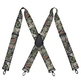 Suspenders for Men Heavy Duty Big and Tall Camo Mens Tactical Suspenders with Adjustable Clip Elastic X Back Work Suspenders Military Style Men's Jeans Belt Suspenders with Swivel Hook 2' Wide