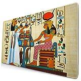 QINCO Grande Juego de Azar Alfombrilla de Ratón-75 x 40cm,Elementos de la Historia del Antiguo Egipto Antiguo,Alfombrilla de Teclado para el Cojín de Escritorio de la Computadora Portátil