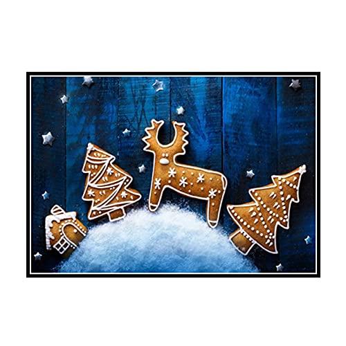 DOAQTE Galletas de Navidad para Hornear Cartel de Comida Familiar Año Nuevo Lienzo Impreso Cuadro dePared decoración Pintura de Pared -20X32 Pulgadas sin Marco 1 Uds