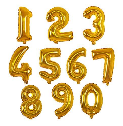 WeiMay 10 pcs Ballon en aluminium numérique de 16 pouces, Forme de 0-9 chiffres, Ballons de Fête,Cérémonie de Mariage,Célibataire Fête,Anniversaire size 35 * 25cm (Gold)