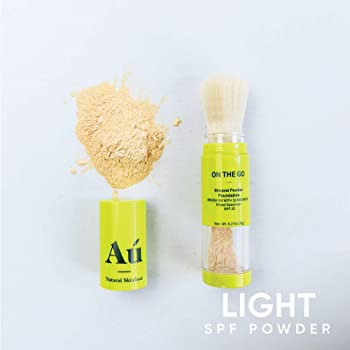 On the Go Mineral Powder Tinted Brush-on Sunscreen by Au Natural Skinfood   Broad Spectrum SPF 25   Oil-free; Paraben...