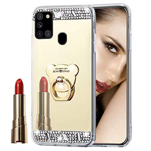 Glitzer Spiegel Hülle für Galaxy A21S Gold, Misstars Bling Diamant Strass Überzug TPU Silikon Handyhülle Ultradünn Kratzfest Schutzhülle mit Bär Ring Ständer für Samsung Galaxy A21S