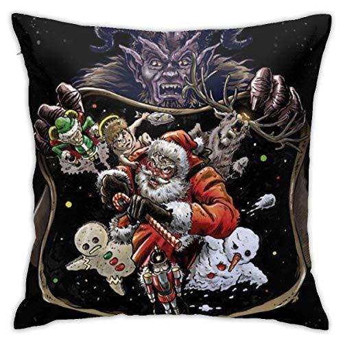 ETGeed Weihnachten Krampus Santa Claus Nussknacker Elch Muster Überwurf Kissenbezüge Polyester Kissenbezüge Hüllen Kissenbezug