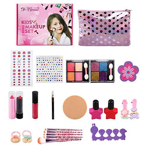 NEWSTYLE Maquillaje Nias Set,25 PCS Juego de Maquillaje para nios,Cosmticos Lavables, Regalo de Princesa para Nias en Fiesta,Cumpleaos,Navidad