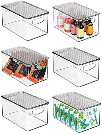 mDesign Plastic Stackable Kitchen Pantry Cabinet Refrigerator Freezer Food Storage Box with product image