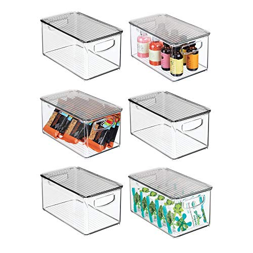 """mDesign Plastic Stackable Kitchen Pantry Cabinet, Refrigerator, Freezer Food Storage Box with Handles, Lid - Organization for Fruit, Snacks, Pasta - 10"""" Long, 6 Pack - Clear/Smoke Gray"""