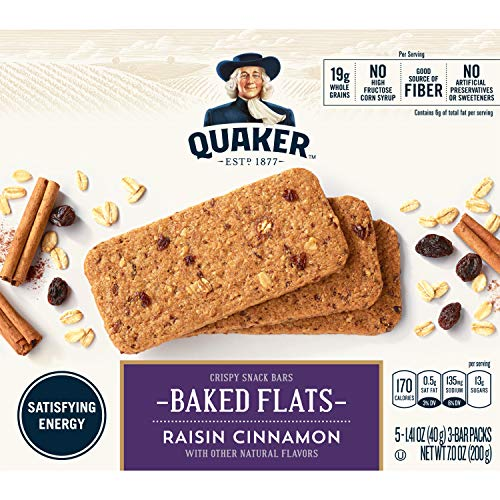 Quaker Baked Flats, Cinnamon Raisin, 5-3 Bar Packs (Pack of 8)