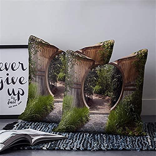Juego de 2 fundas de almohada decorativas modernas japonesas para jardín, valla, camino, madera, verano, decoración del hogar, para sofá, dormitorio, coche, 45,7 x 45,7 cm