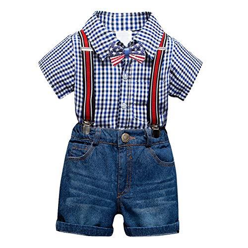 Baby Boy Outfit Sommer Lattic Polo Shirt Top und Hosenträger Shorts Jean Formal Gentleman Kleidung Set