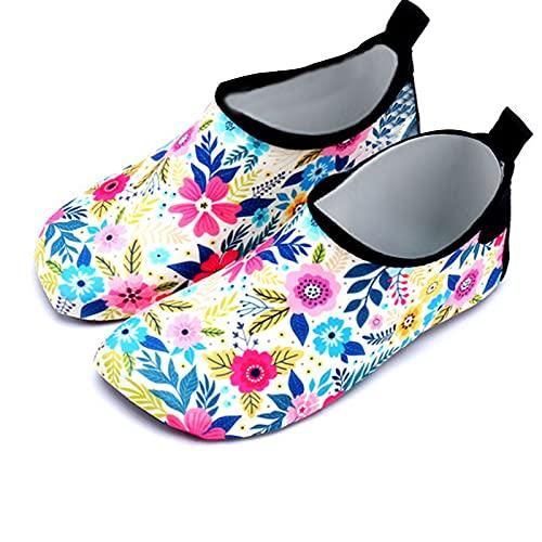Gogokids Zapatos de agua para niños – Zapatillas de baño para niños y niñas, de secado rápido, zapatos deportivos para exteriores, de 3 a 6 años, color Amarillo, talla 26 EU