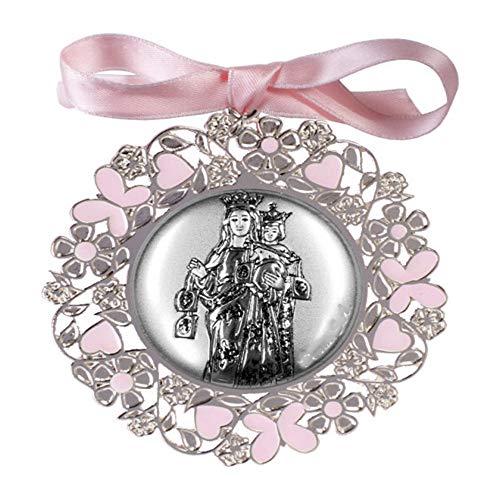 DOCOLASTRA Medalla de cuna o cochecito de la Virgen del Carmen color Azul o Rosa en Plata bilaminada, esmalte y barnizado, PUEDE SER PERSONALIZADO.