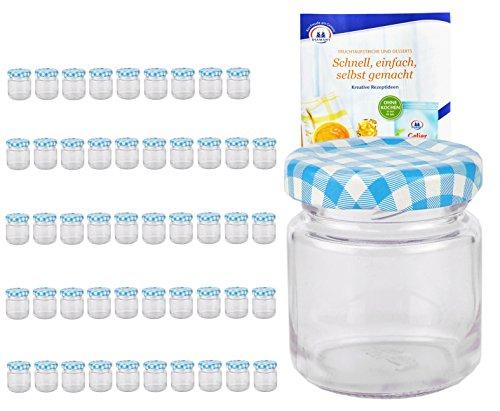 Lot de 50verres Rond 53ml Couvercle couleur bleu blanc à carreaux To 43avec diamant gelier magique recettes, bocaux, fraîcheur, Verres, bocaux, mini pots à, fruits, Portion de verres, bocaux