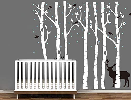 Forest Tree Wall Decal Deers Sticker Removable Vinyl Wall Art Stickers for Kids Nursery Bedroom product image