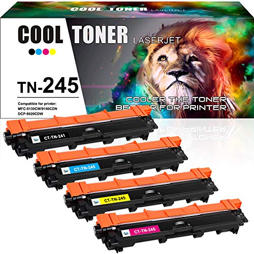 Cool Toner 4 Pack Compatible TN245 TN241 TN 245 TN 241 TN-241 TN-245 TN 241BK TN241BK Cartouches de Toner pour Brother MFC-9330CDW DCP-9020CDW MFC-9340CDW MFC-9140CDN HL-3140CW HL-3150CDW HL-3170CDW