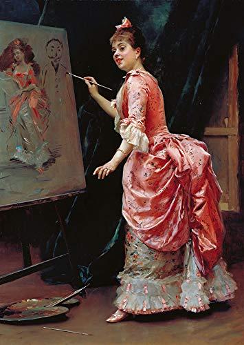 LYWUSUZE Pintura De Bricolaje por Números Dama Pintura Arte De La Pared Decoración del Hogar Regalo 40x50cm (Sin Marco)