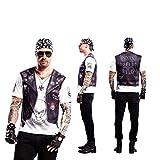 Yijja Fast Fun - Hellboy, camiseta de manga corta para adultos, 2 piezas tatuaje, talla L (Charm Kingdom YJ00022)