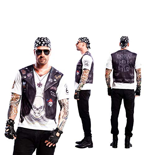 Yijja Fast Fun - Hellboy, camiseta de manga corta para adultos, 2 piezas tatuaje, talla M (Charm Kingdom YJ00021)