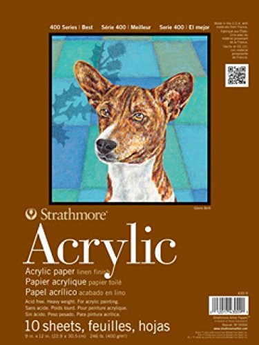 Strathmore 400 Series Acrylic Pad, Linen Finish, 12'x18' Glue Bound, 10 Sheets