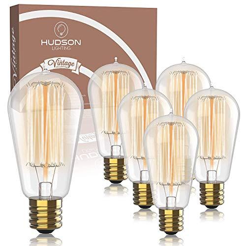 Vintage Incandescent Edison Light Bulbs: 60 Watt, 2100K Warm White Lightbulbs - E26 Base - Dimmable Antique Filament Light Bulb Set - 6 Pack