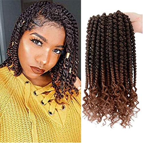 Flyteng Spring Senegalese twist crochet hair curly end 12inch Havana Mambo twist crochet braids 6packs Synthetic Braiding Hair Extension (12inch6piece, T30)