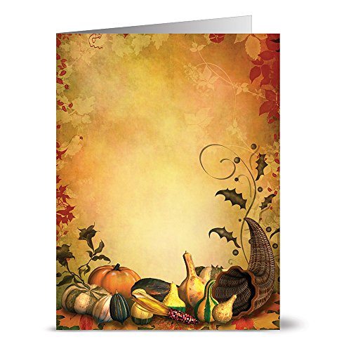 Thanksgiving Greeting Cards 24 Pack – Bountiful Cornucopia– Unique Holiday Design – KRAFT ENVELOPES INCLUDED – Glossy Cover Blank Inside – By Note Card Café