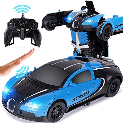 Woote RC Electric Toy Induction Car Children's Remote Control Deformation Car People Sports Car Robot Boy 4-6 Years Old The Best Christmas Gift for Kids, Hobby RC Vehicle (Color : Blue)